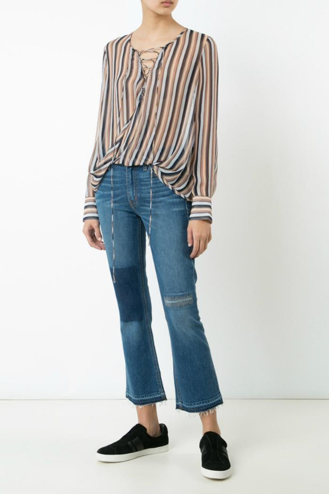 Derek Lam 10 Crosby Lace Up Blouse - Side Cropped Image