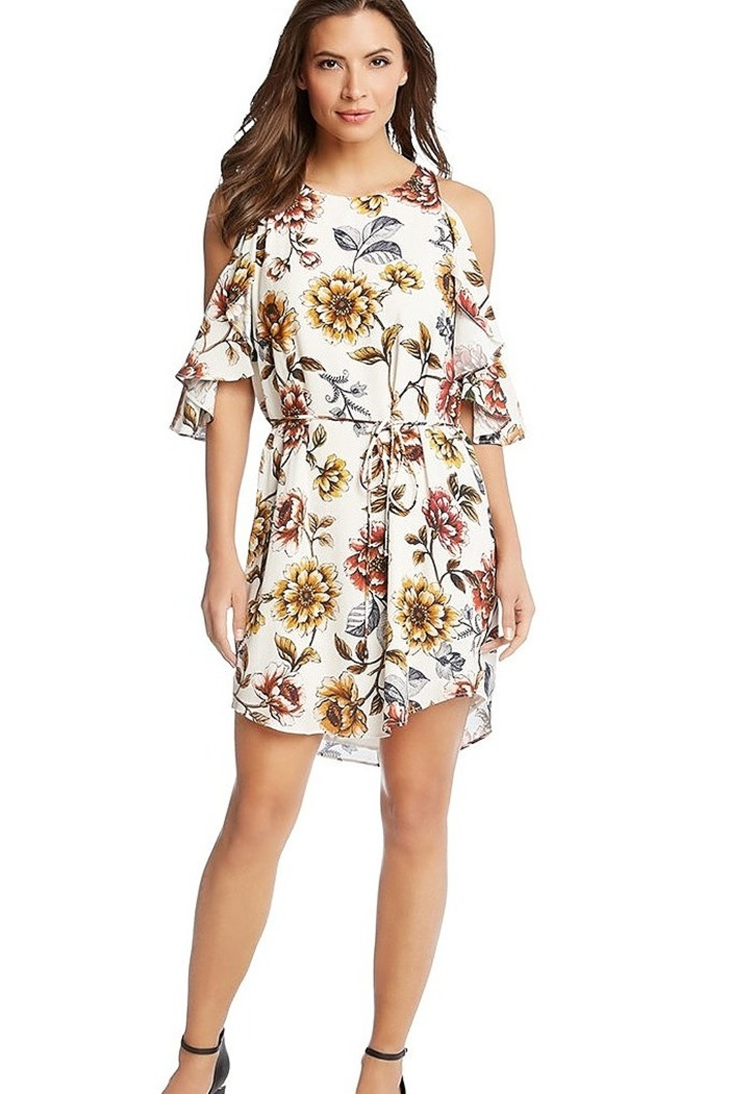 Karen Kane Desert Flowers Cold Shoulder Dress - Front Cropped Image