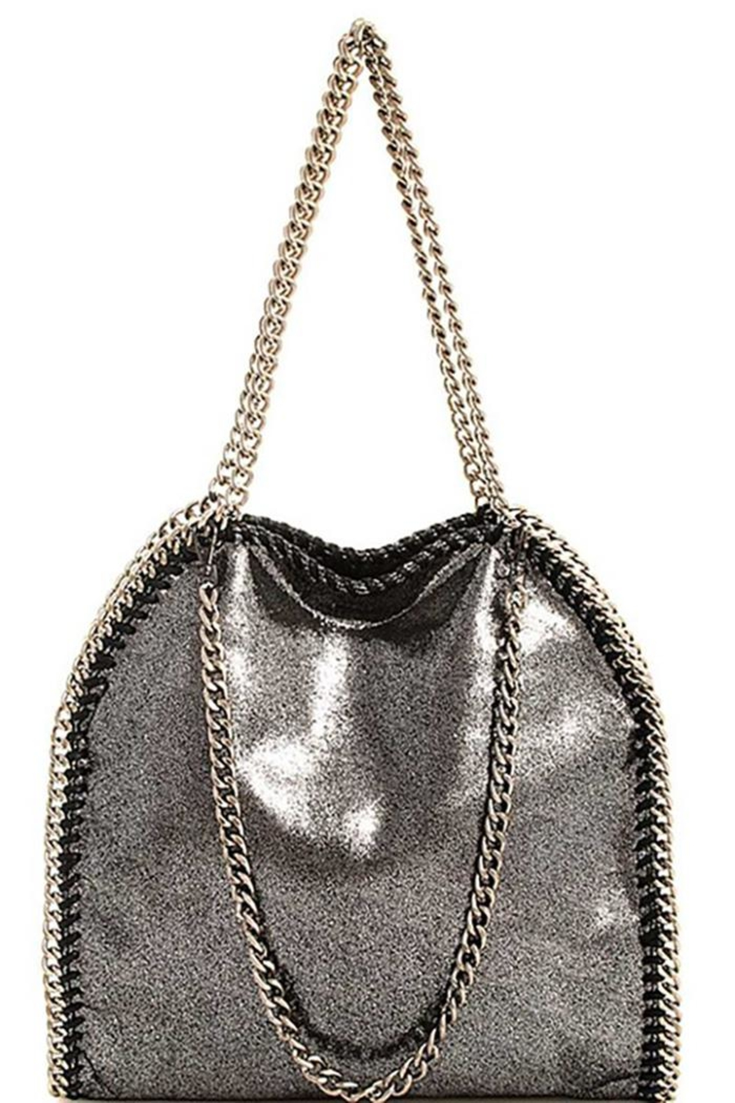 Nadya's Closet Designer Chain-Accent Tote - Front Cropped Image