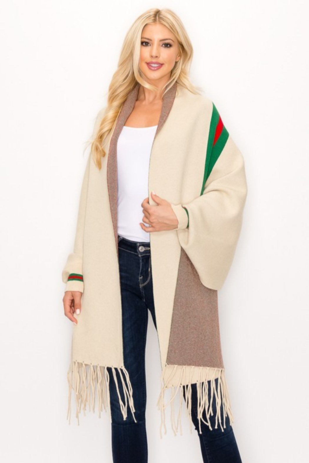 Love & Repeat Designer Inspired Poncho - Front Cropped Image