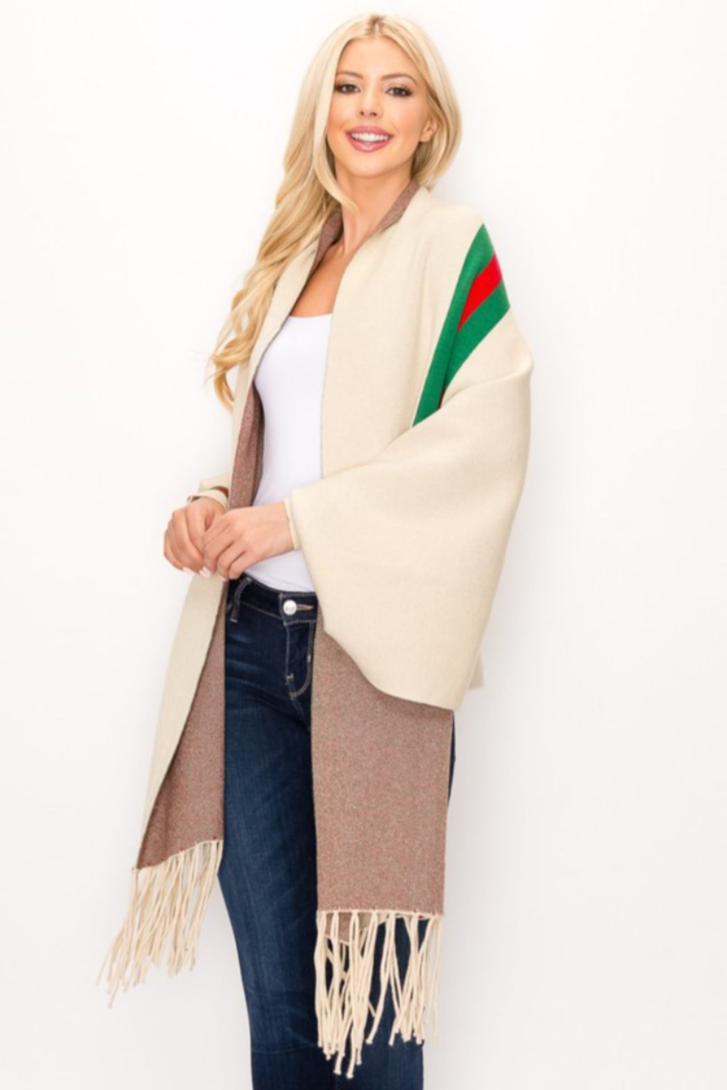 Love & Repeat Designer Inspired Poncho - Front Full Image