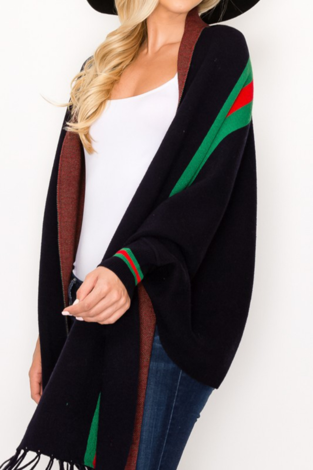 Love & Repeat Designer Inspired Poncho - Back Cropped Image