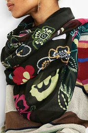 DESIGUAL Black Abstract Floral Scarf - Product Mini Image