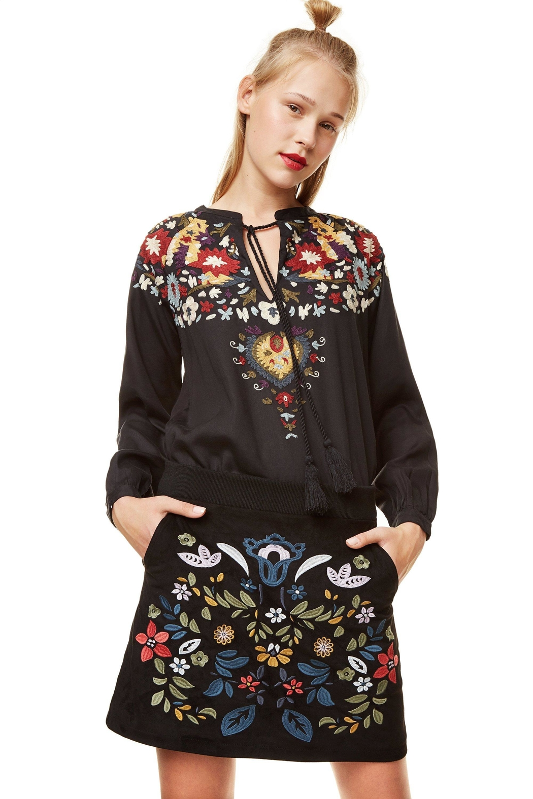 DESIGUAL Ariadna Embroidered Skirt - Front Full Image
