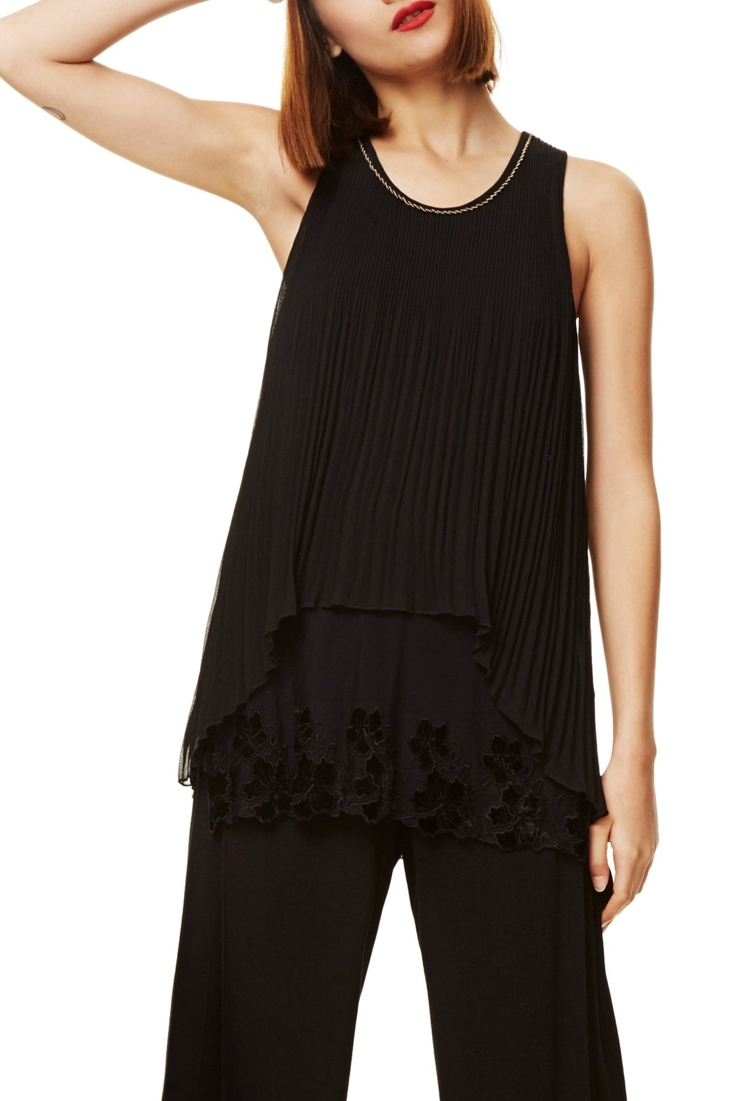 DESIGUAL Black Accordian-Detailed Top - Front Cropped Image