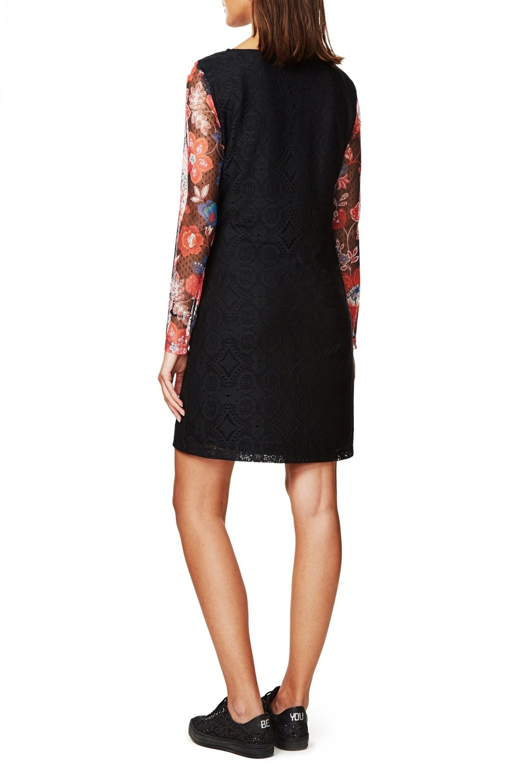 DESIGUAL Black Lace Dress - Front Full Image