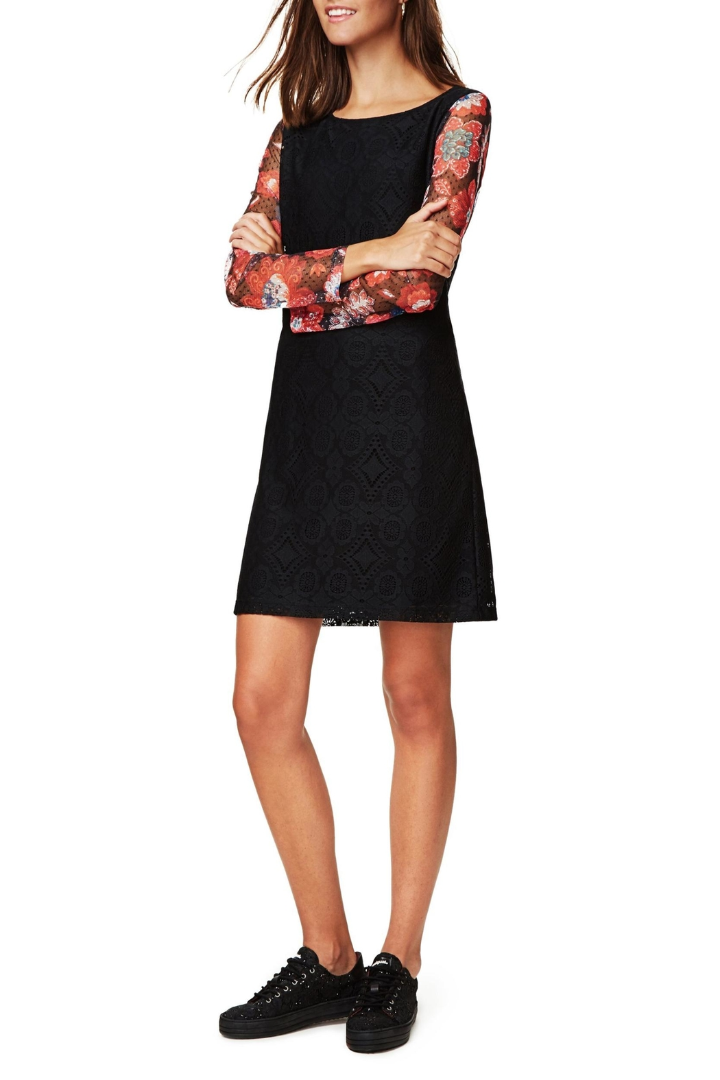 DESIGUAL Black Lace Dress - Side Cropped Image