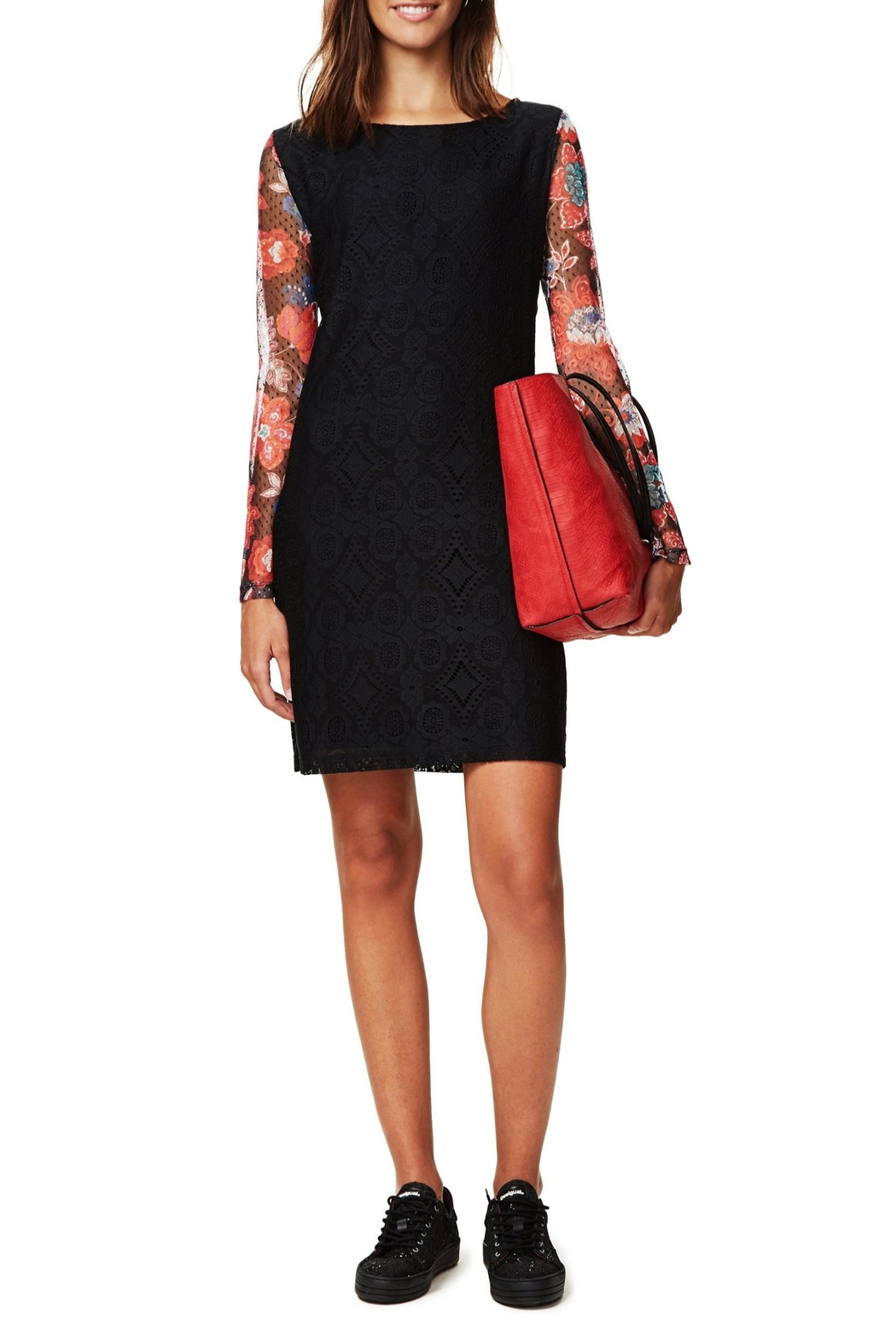 DESIGUAL Black Lace Dress - Front Cropped Image