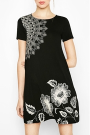 DESIGUAL Black Midi-Floral Dress - Front cropped
