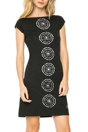 DESIGUAL Black White Cut-Out Dress - Front cropped