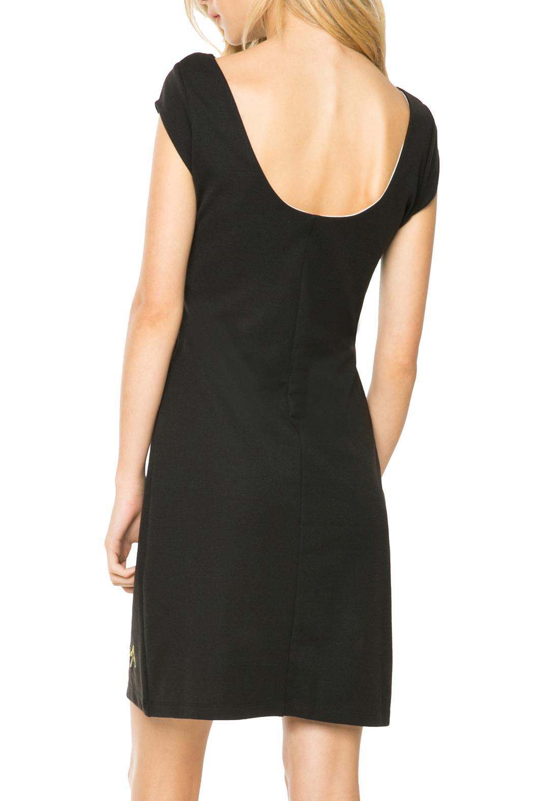 DESIGUAL Black White Cut-Out Dress - Front Full Image