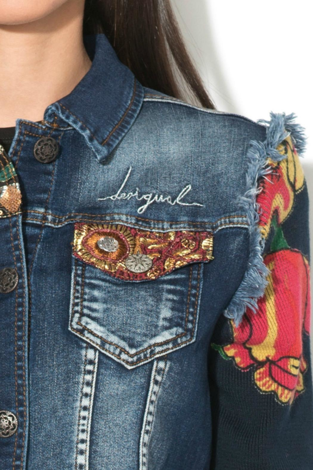 DESIGUAL Embroidered Denim Jacket - Back Cropped Image