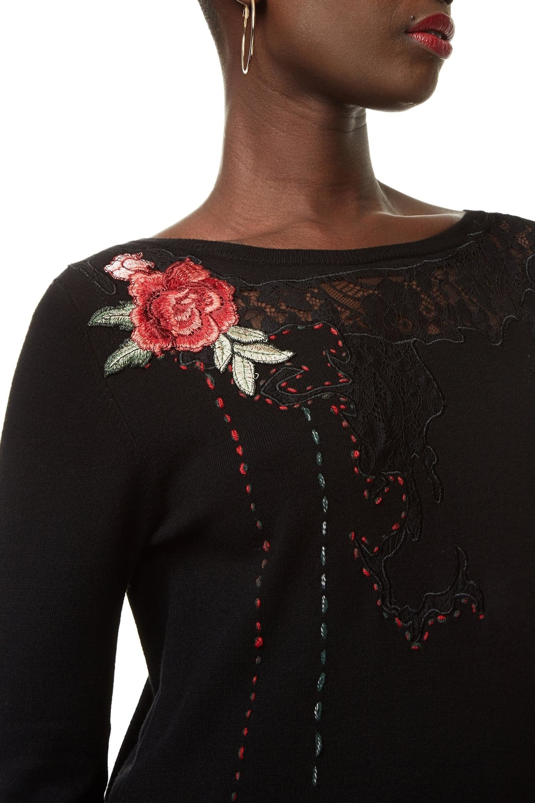 DESIGUAL Embroidered Lace Sweater - Back Cropped Image