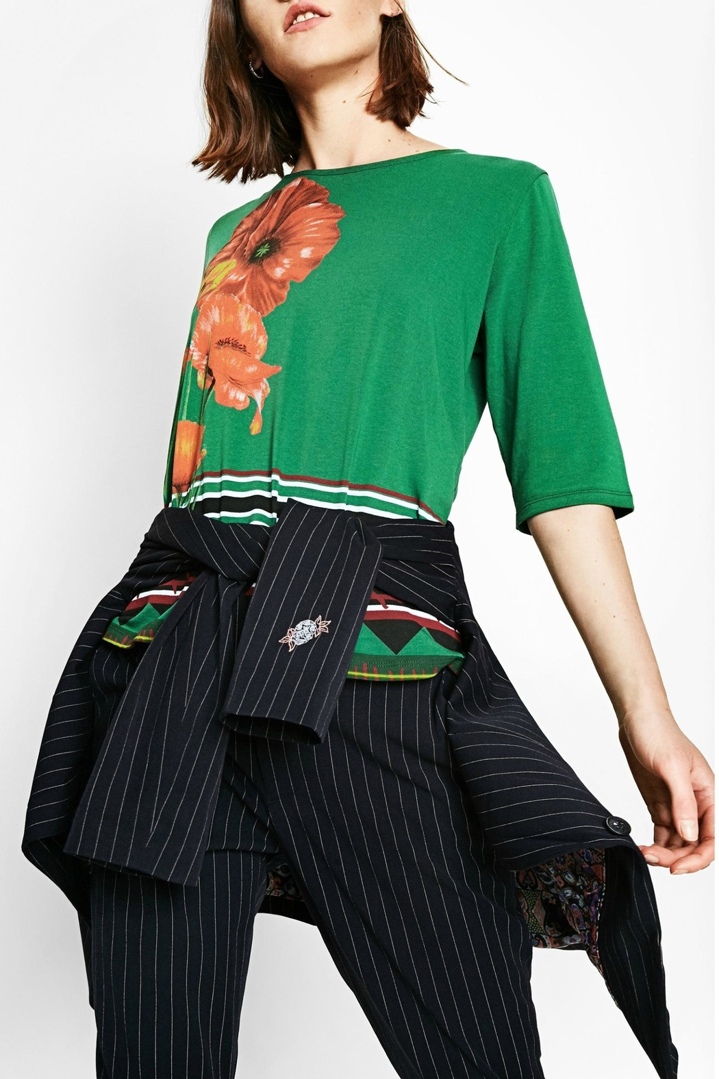 DESIGUAL Green Floral Top - Back Cropped Image