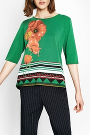 DESIGUAL Green Floral Top - Front cropped