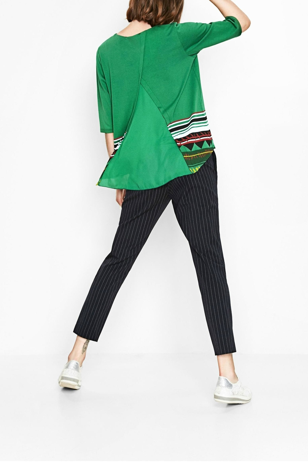 DESIGUAL Green Floral Top - Side Cropped Image
