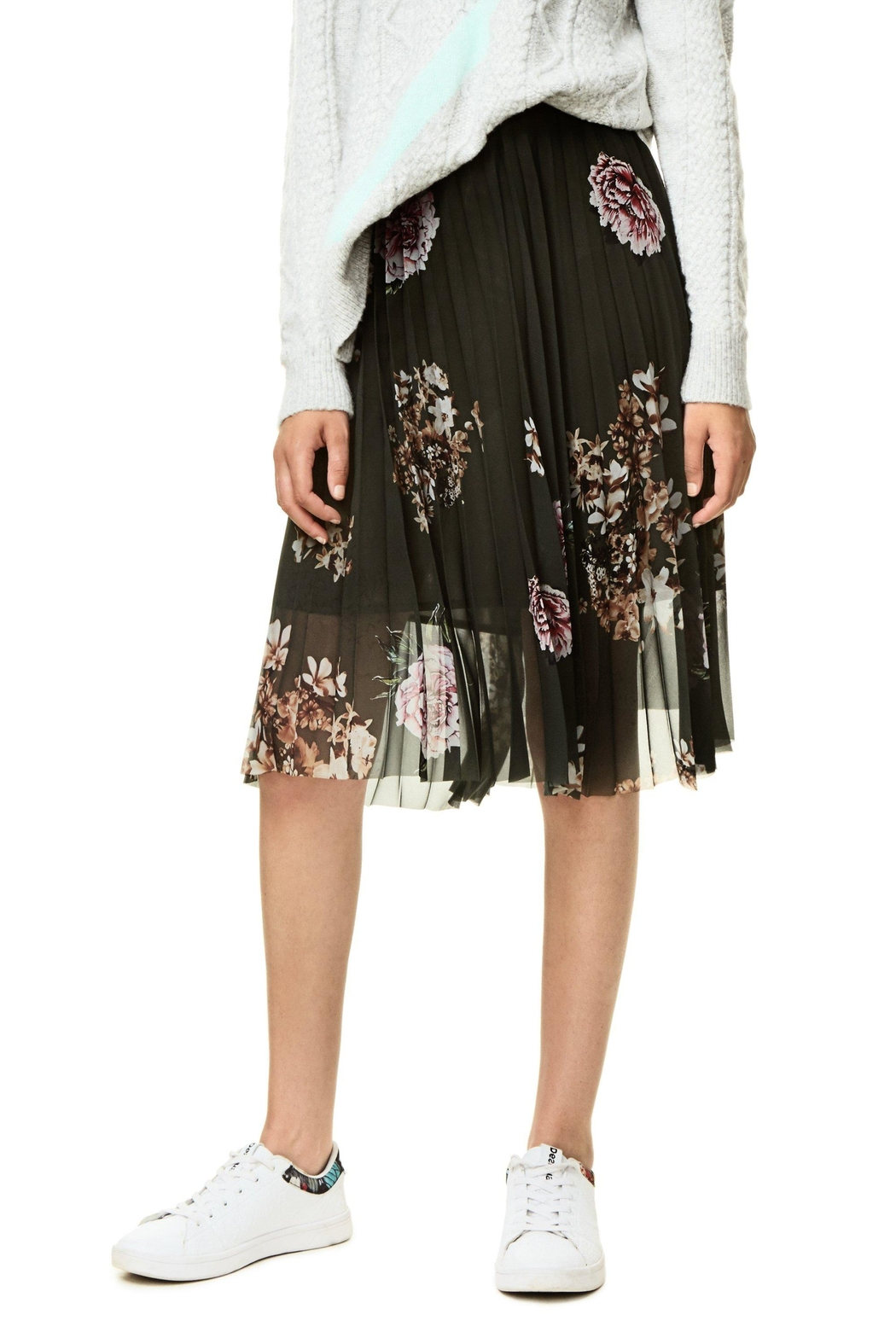 DESIGUAL Pleated Floral Skirt - Main Image