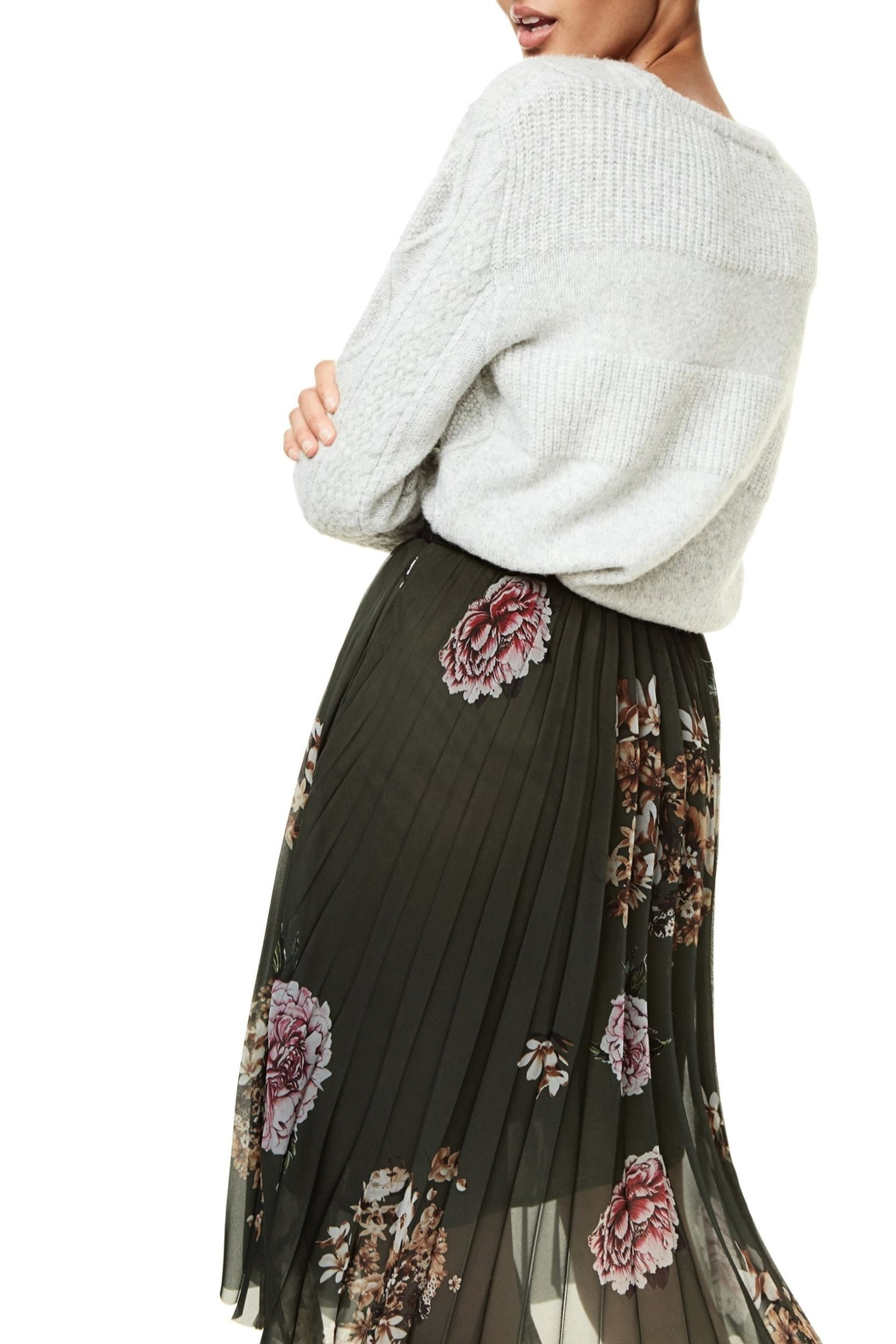 DESIGUAL Pleated Floral Skirt - Back Cropped Image