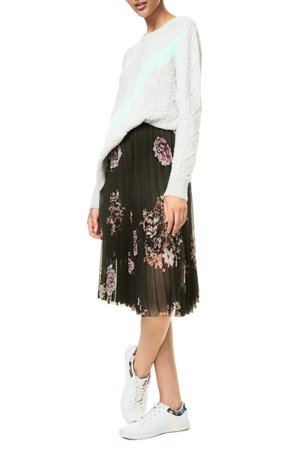 DESIGUAL Pleated Floral Skirt - Side Cropped Image