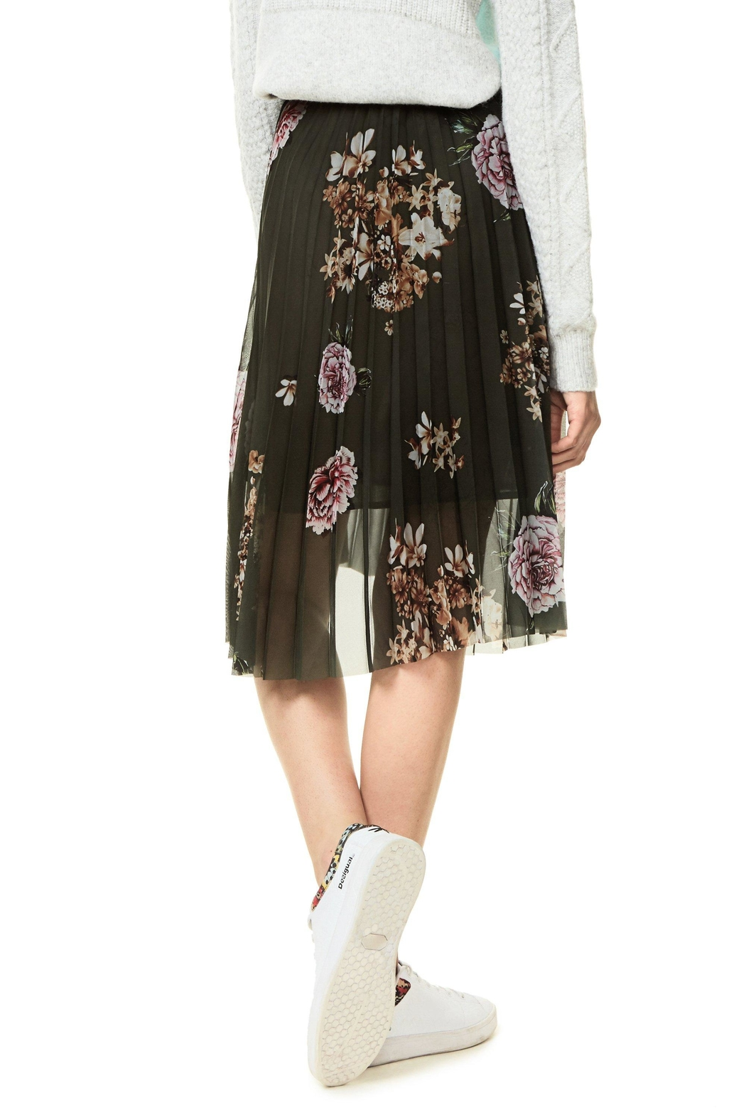 DESIGUAL Pleated Floral Skirt - Front Full Image