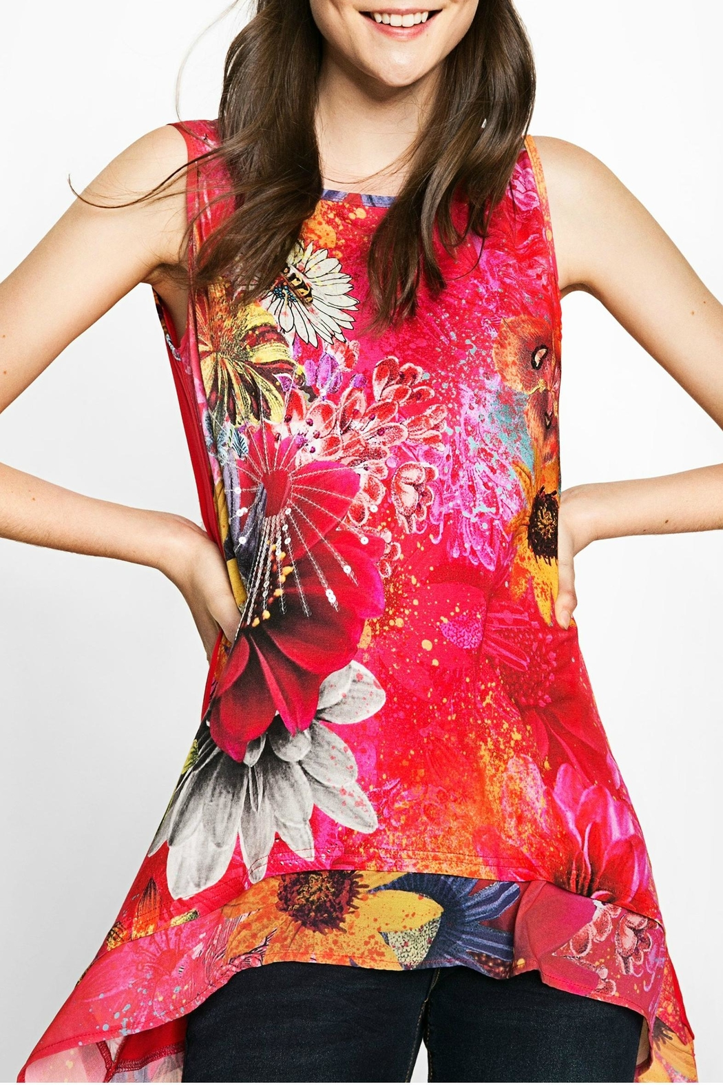 DESIGUAL Red Floral Tank - Front Cropped Image