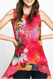 DESIGUAL Red Floral Tank - Front cropped