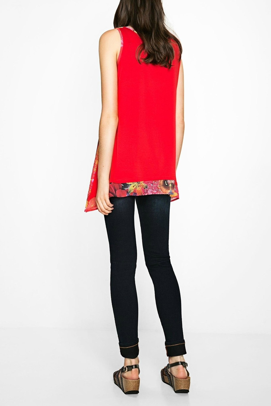DESIGUAL Red Floral Tank - Side Cropped Image