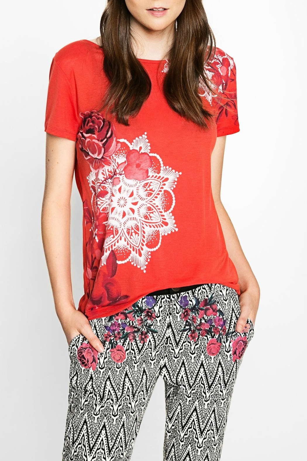 DESIGUAL Red Floral Tee - Main Image