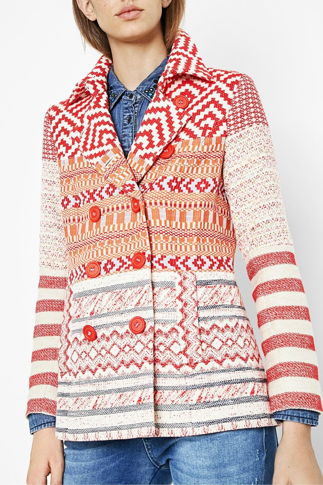 DESIGUAL Red Jacquard Peacoat - Front Cropped Image