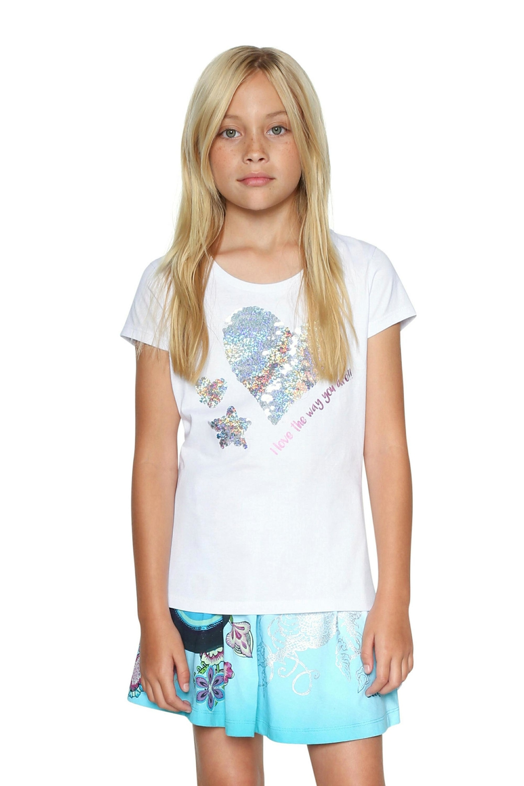 DESIGUAL Reversible Sequin Tee - Front Full Image