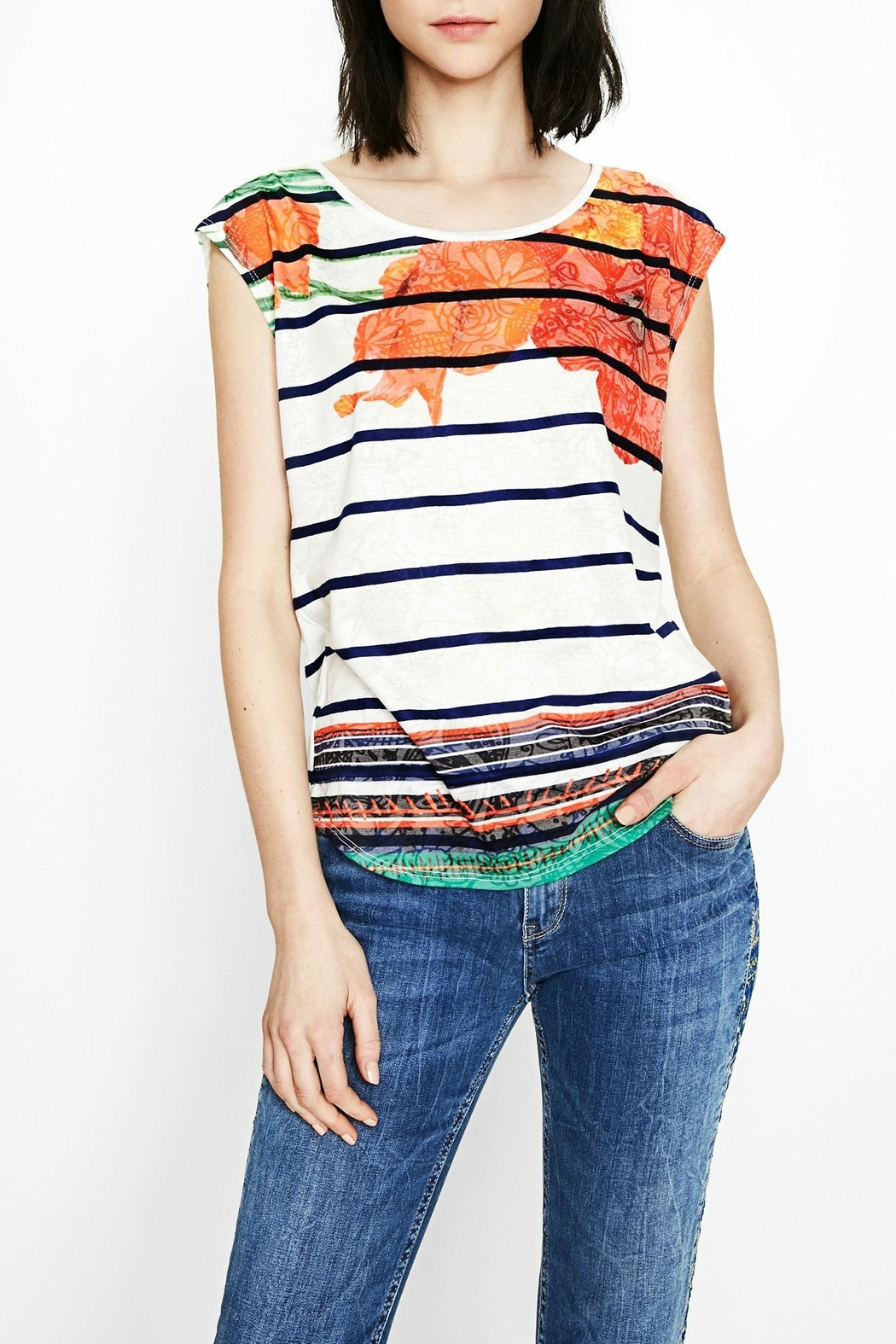 DESIGUAL Sailor Striped Floral Tee - Back Cropped Image