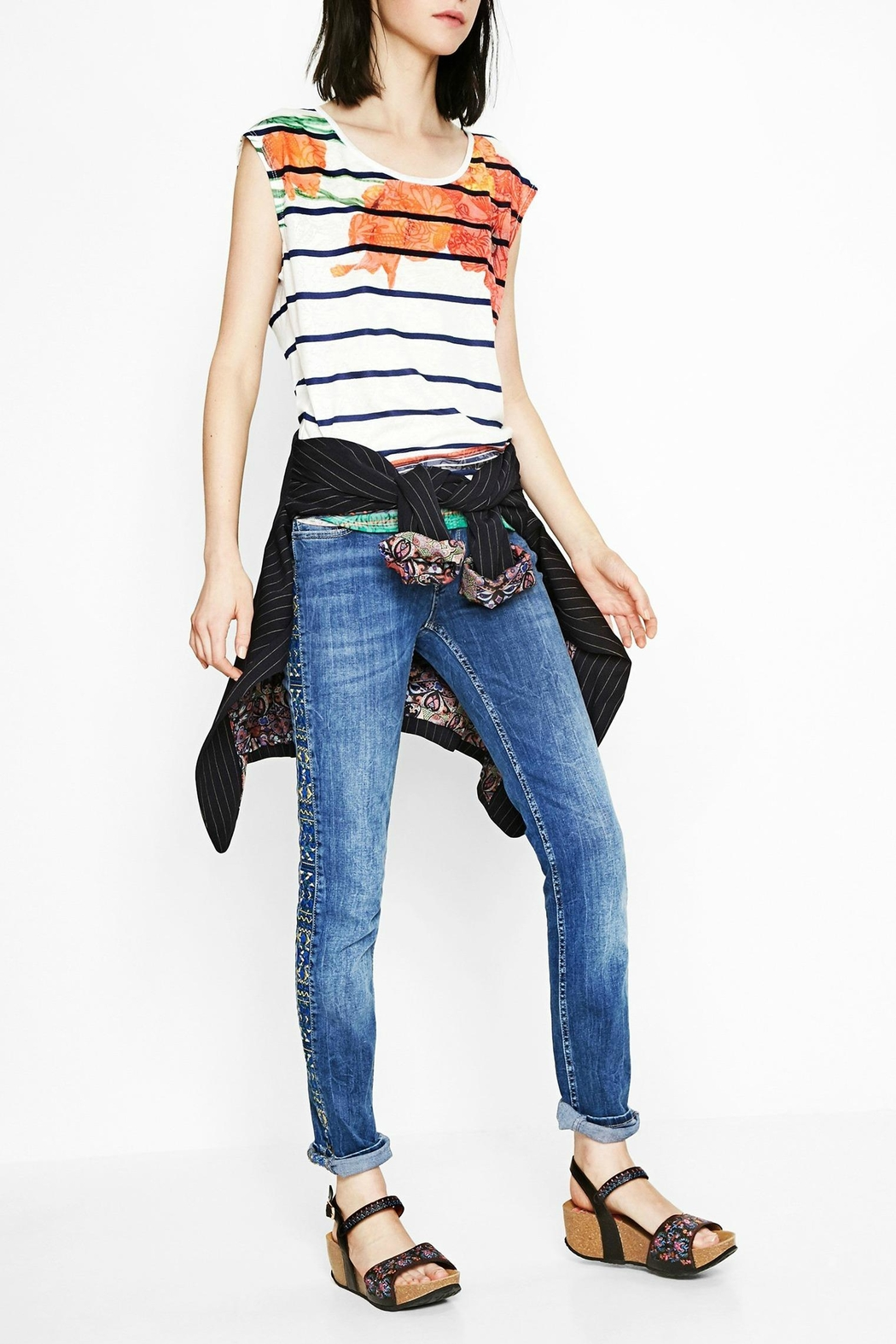 DESIGUAL Sailor Striped Floral Tee - Front Full Image