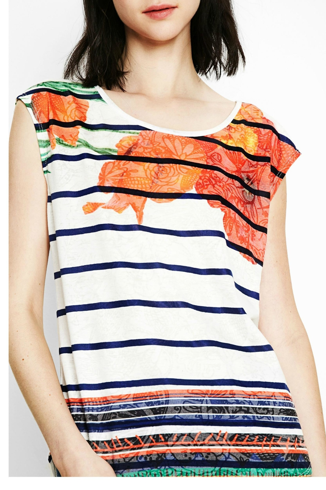 DESIGUAL Sailor Striped Floral Tee - Front Cropped Image