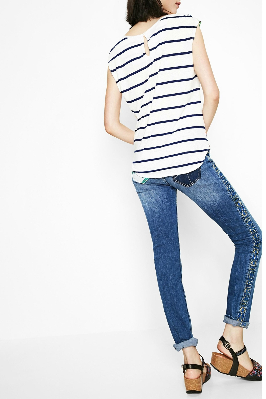 DESIGUAL Sailor Striped Floral Tee - Side Cropped Image