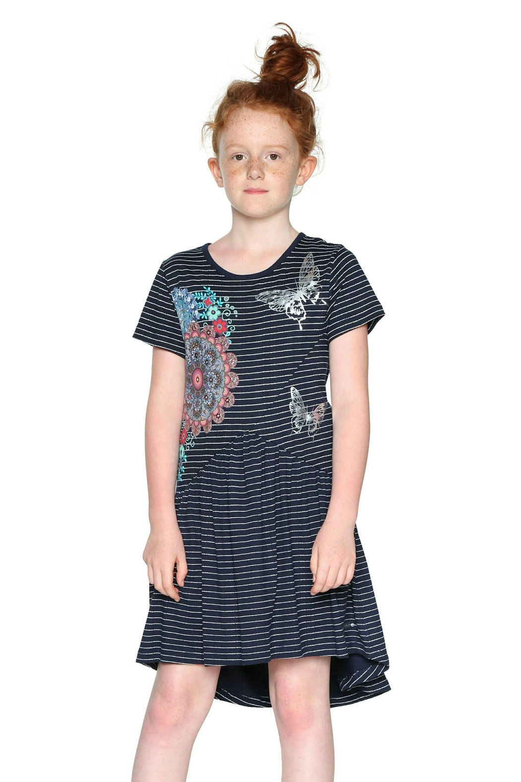 DESIGUAL Striped Butterfly Dress - Front Cropped Image