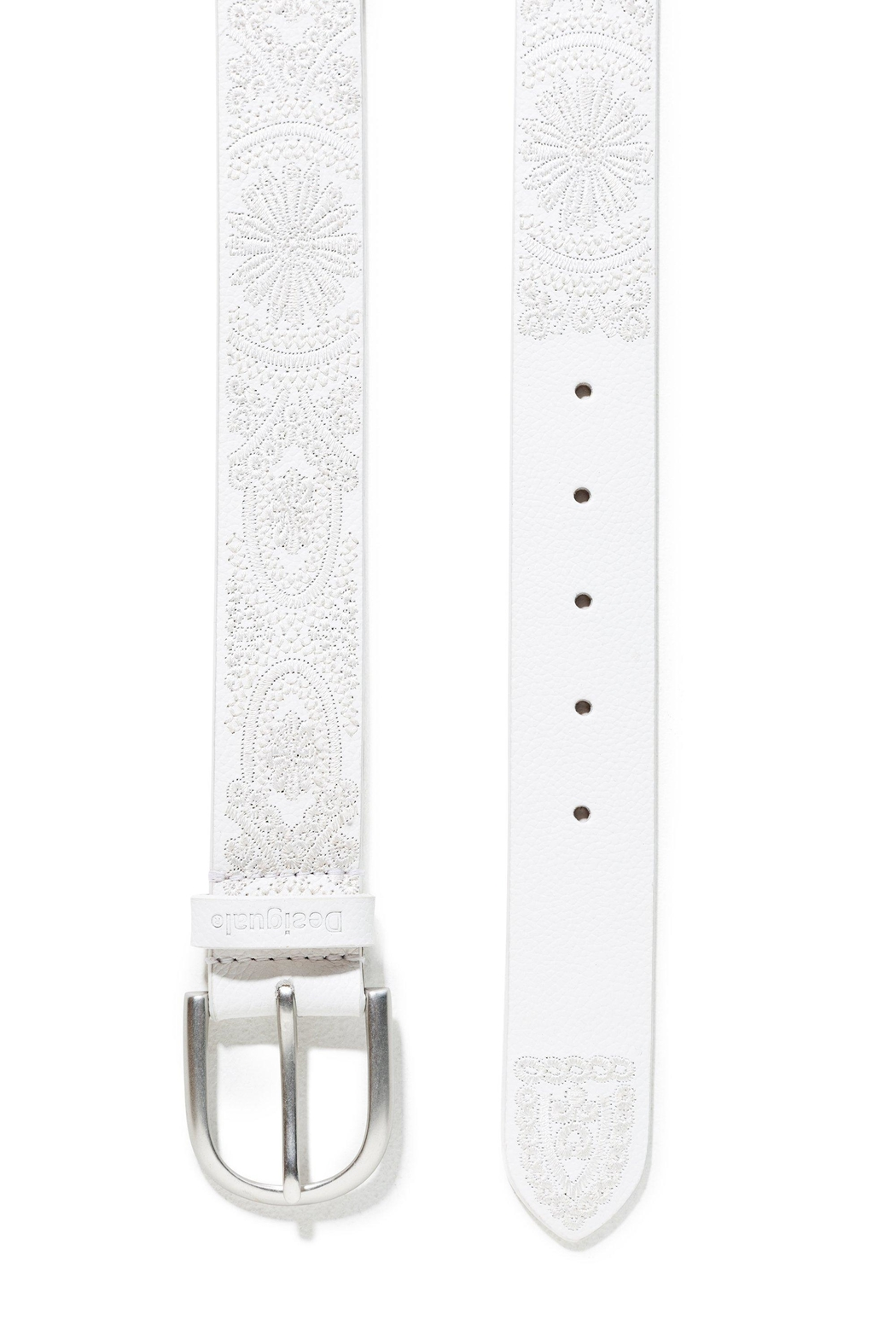 DESIGUAL White Embroidered Belt - Front Full Image