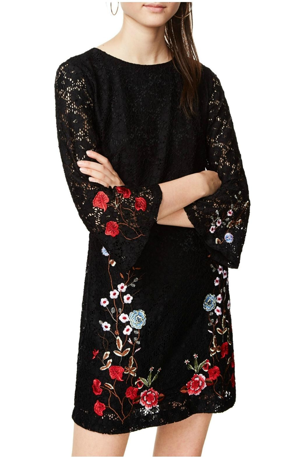 Desigual - Spain Black Lacy Dress - Back Cropped Image