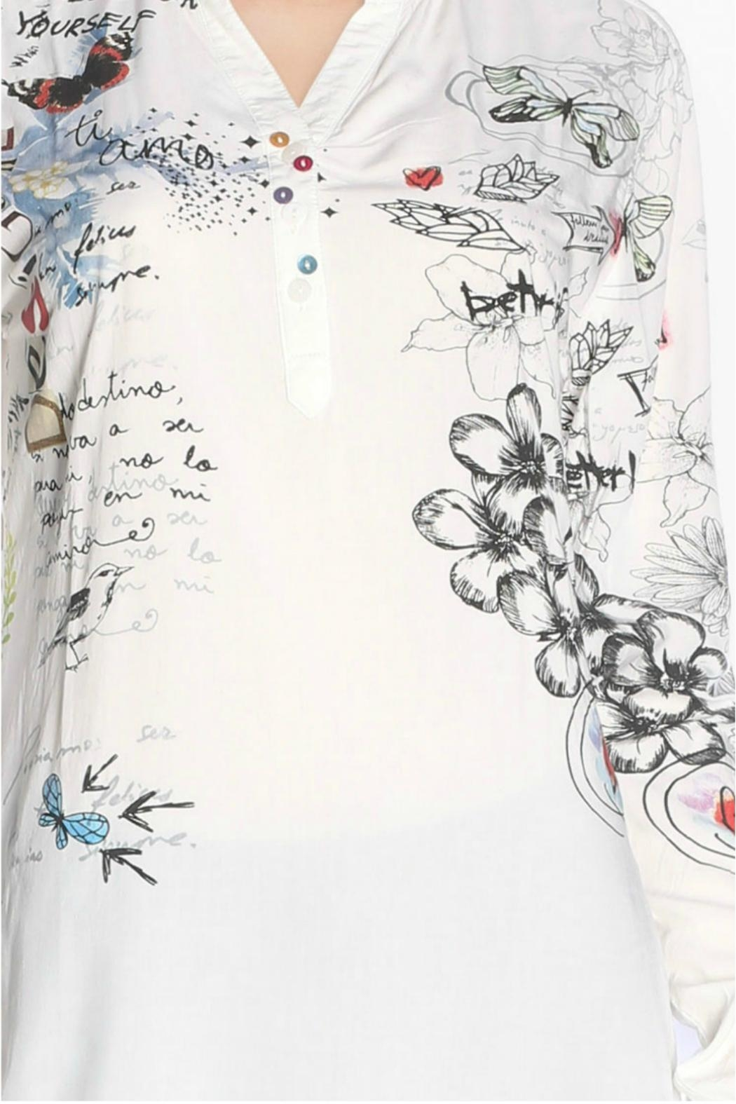Desigual - Spain White Printed Blouse - Side Cropped Image