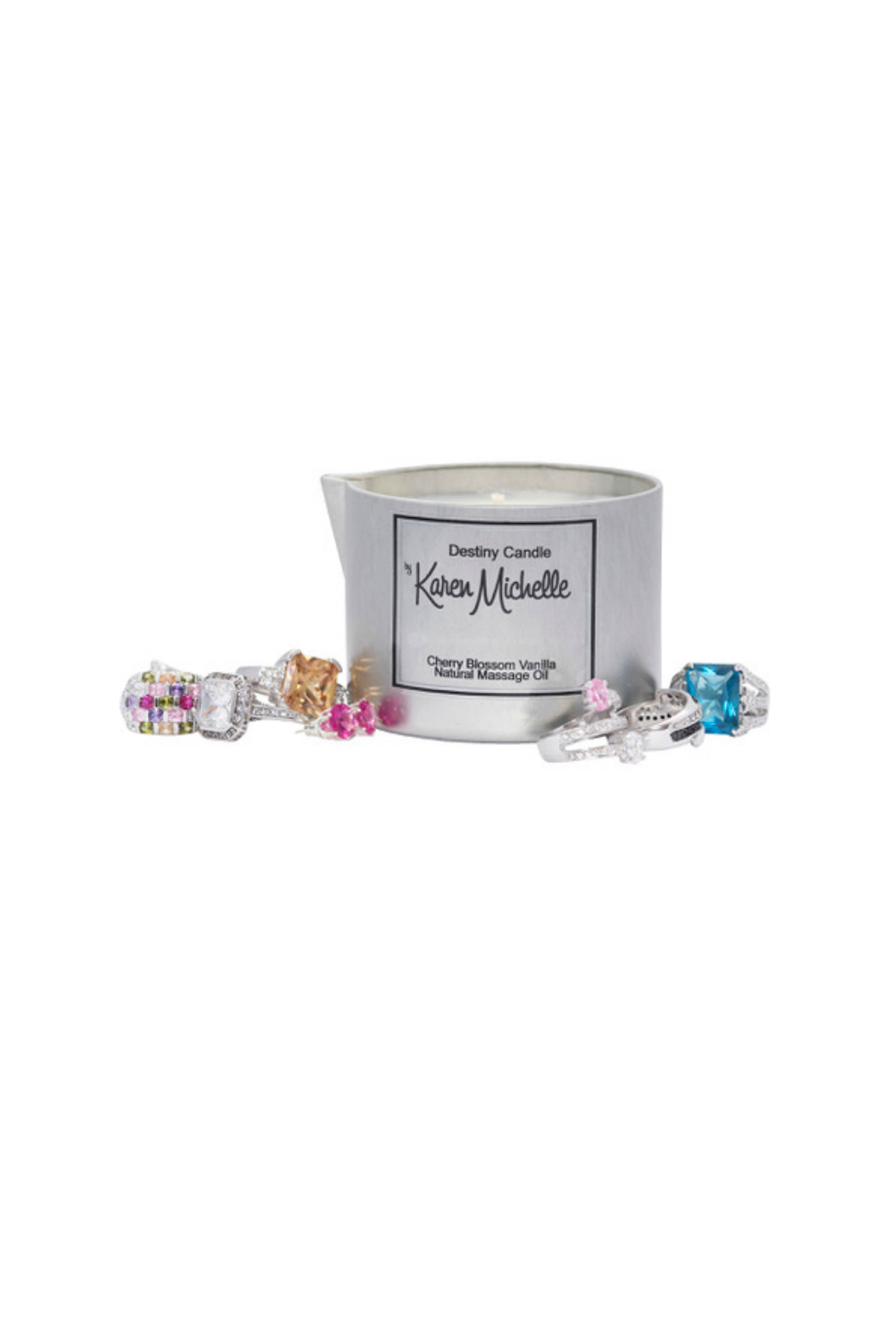 Destiny Candle by Karen Michelle Cherry Blossom Massage Oil Candle - Front Full Image