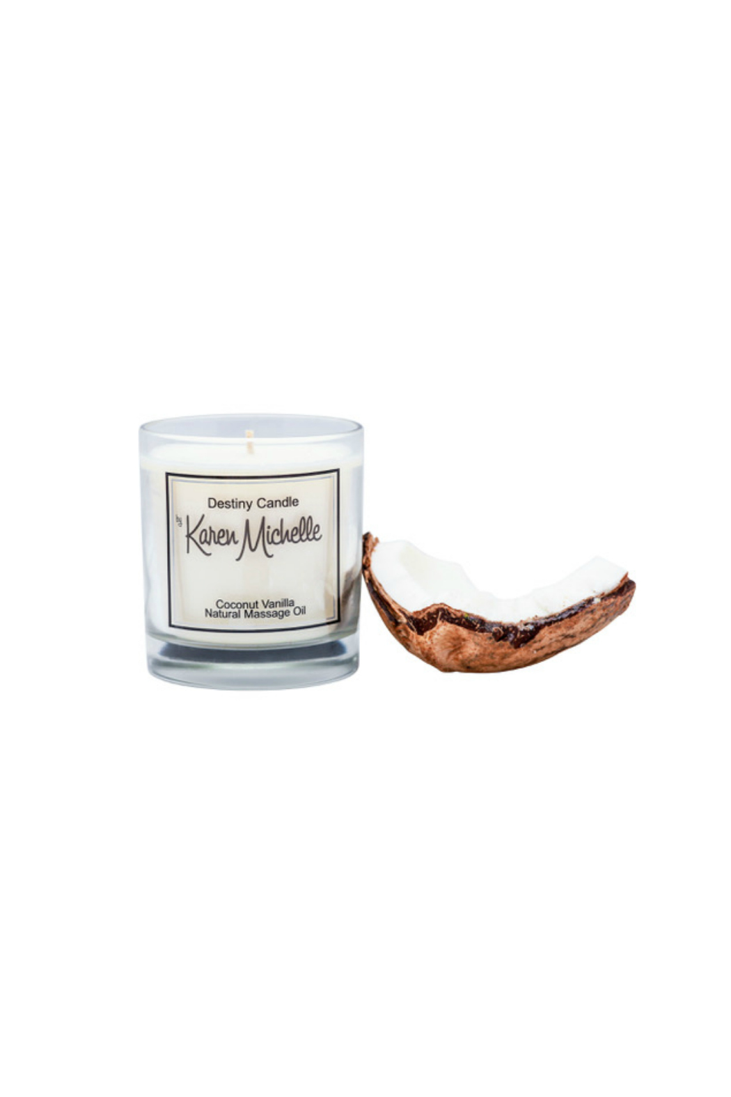 Destiny Candle by Karen Michelle Coconut Vanilla Massage Oil Candle - Front Full Image