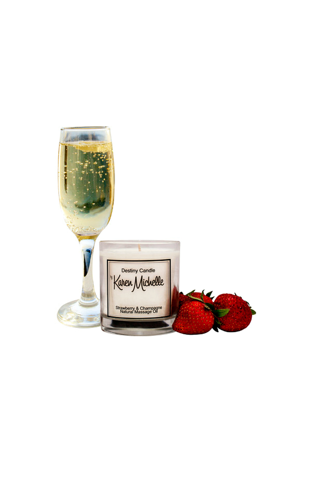 Destiny Candle by Karen Michelle Strawberry Champagne Massage Oil Candle - Front Cropped Image