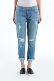just black Destroyed Boyfriend Jeans - Product Mini Image