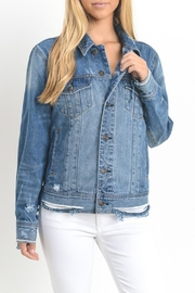 just black Destroyed Denim Jacket - Product Mini Image