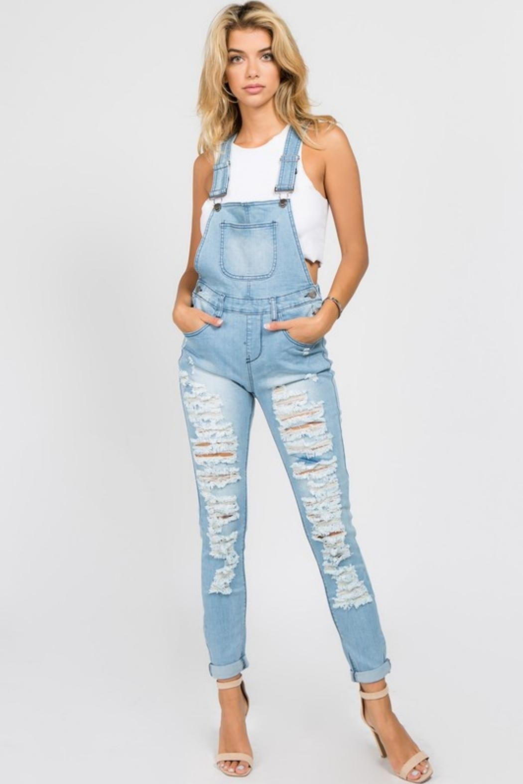 American Bazi Destroyed Denim Jumpsuit - Front Cropped Image