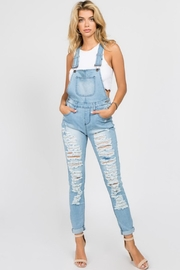 American Bazi Destroyed Denim Jumpsuit - Front cropped