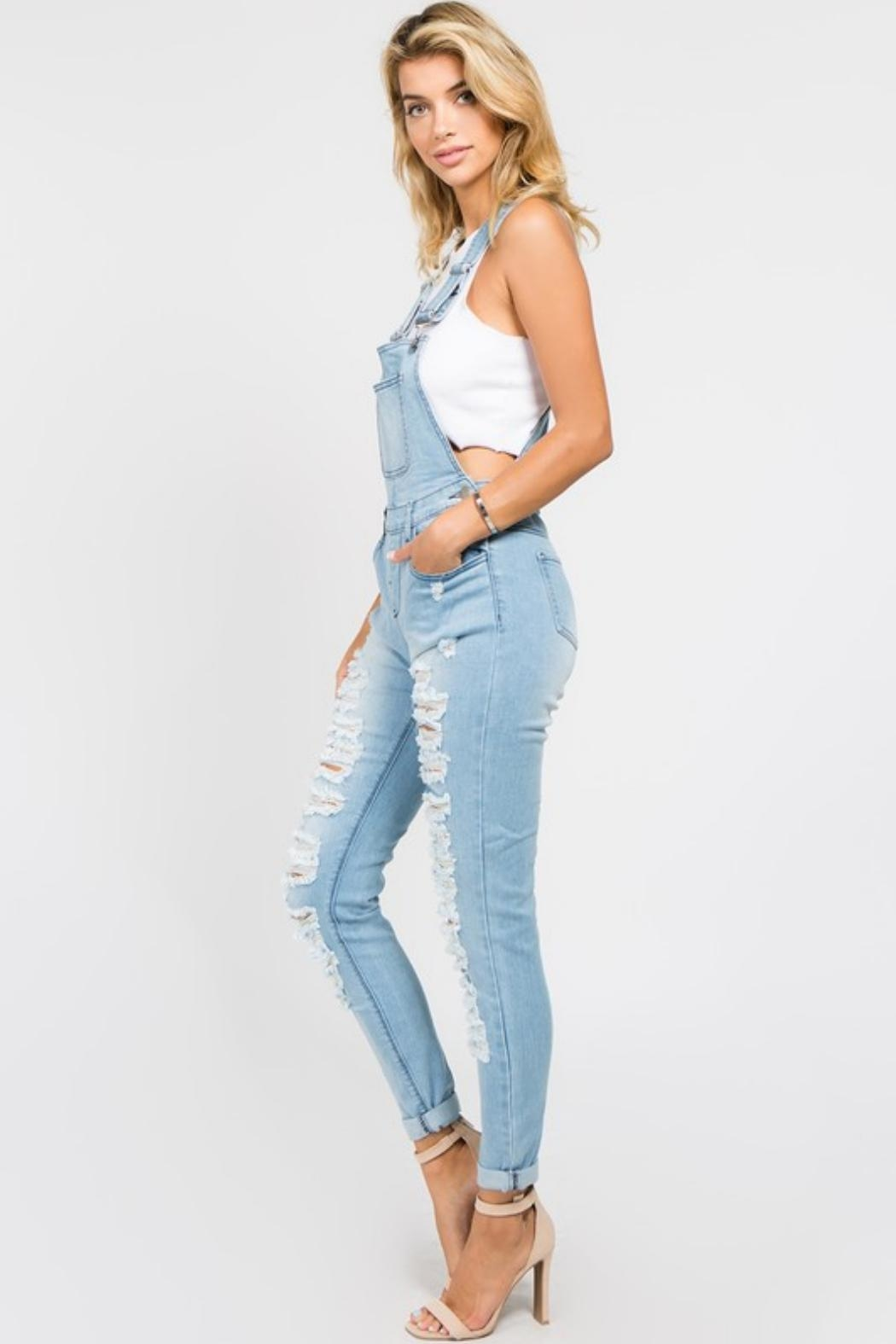 American Bazi Destroyed Denim Jumpsuit - Side Cropped Image