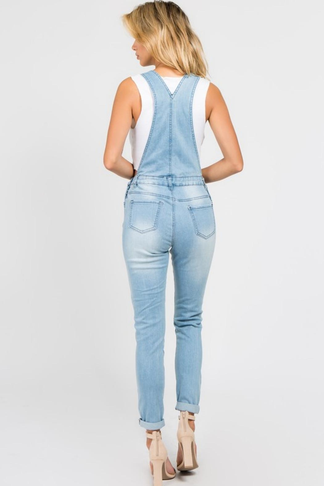 American Bazi Destroyed Denim Jumpsuit - Front Full Image