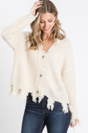 Sweet Generis Destroyed Fringe Button Down Cardigan - Product Mini Image