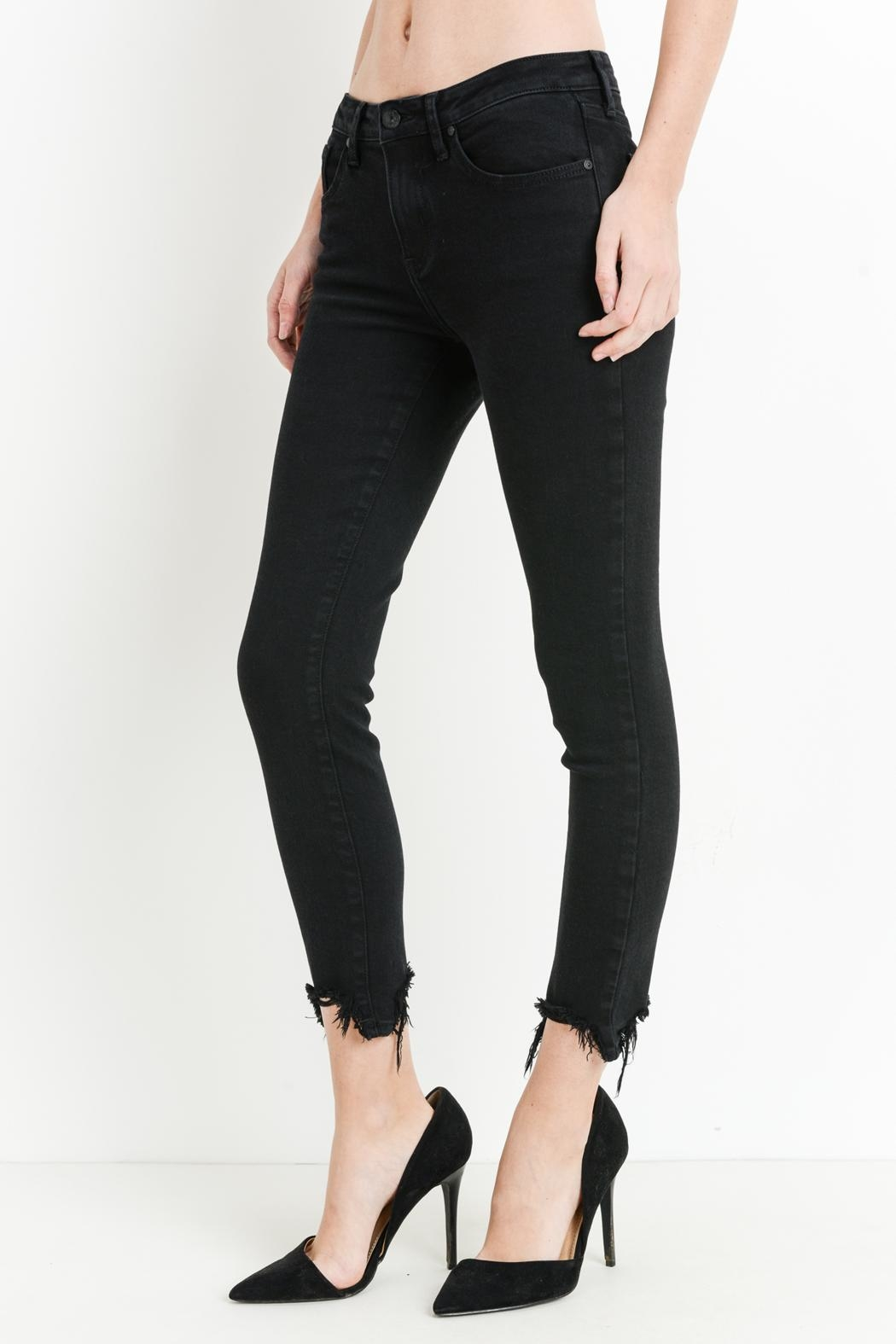 just black Destroyed Hem Jeans - Main Image