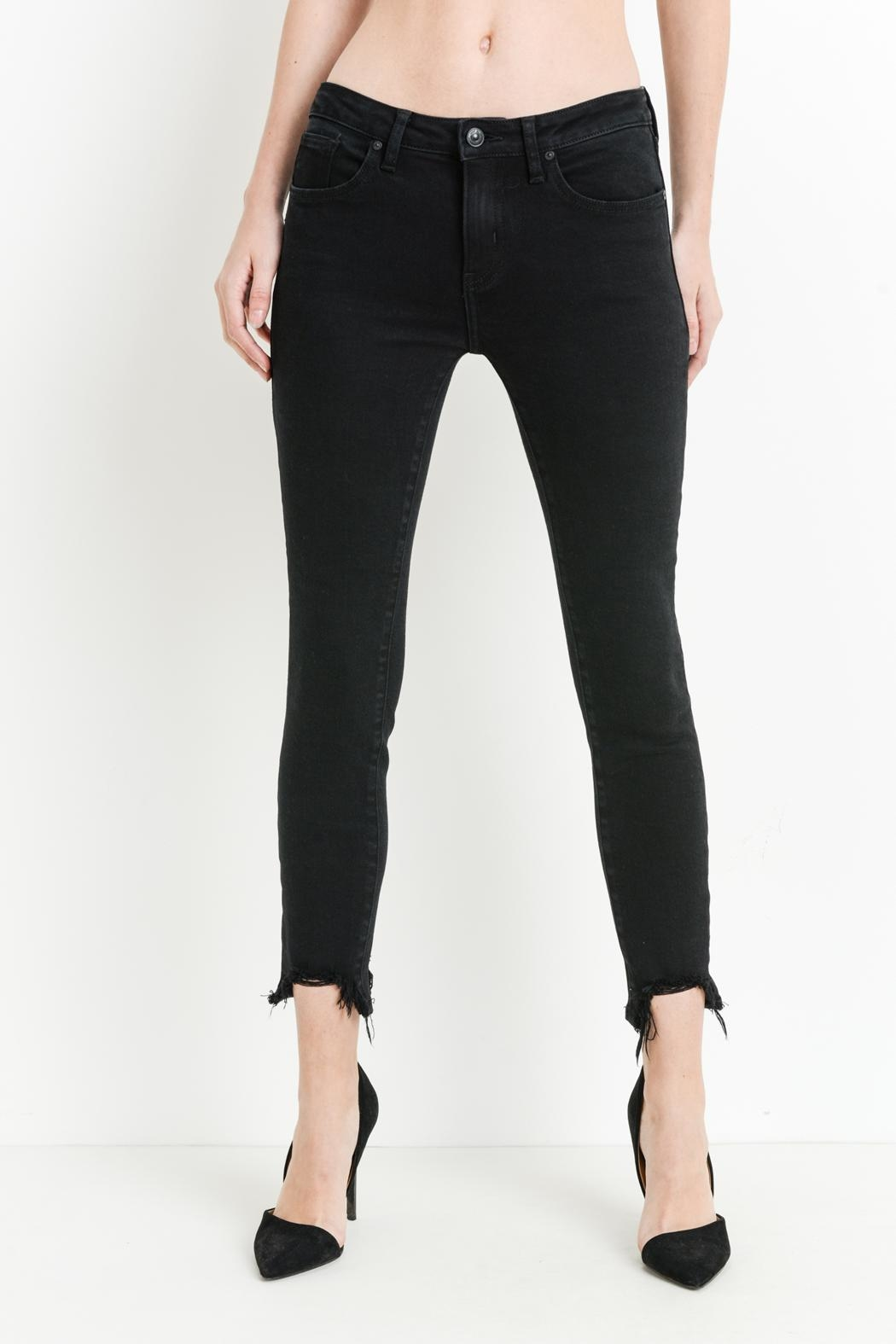 just black Destroyed Hem Jeans - Back Cropped Image